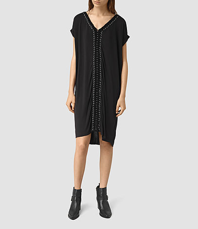 Aria Tee Dress - style: t-shirt; neckline: v-neck; fit: loose; pattern: plain; predominant colour: black; occasions: evening; length: on the knee; fibres: viscose/rayon - 100%; sleeve length: short sleeve; sleeve style: standard; pattern type: fabric; texture group: jersey - stretchy/drapey; season: s/s 2016; wardrobe: event