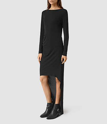 Meli Dress - pattern: plain; predominant colour: black; occasions: evening; length: just above the knee; fit: body skimming; style: asymmetric (hem); fibres: viscose/rayon - stretch; neckline: crew; sleeve length: long sleeve; sleeve style: standard; pattern type: fabric; texture group: jersey - stretchy/drapey; season: s/s 2016; wardrobe: event