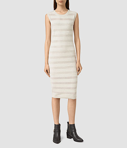 Casto Dress - length: below the knee; fit: tight; pattern: horizontal stripes; sleeve style: sleeveless; style: bodycon; predominant colour: ivory/cream; occasions: evening; fibres: cotton - stretch; neckline: crew; sleeve length: sleeveless; texture group: jersey - clingy; pattern type: fabric; season: s/s 2016; wardrobe: event