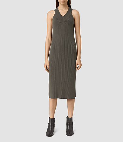 Orro Dress - length: below the knee; neckline: v-neck; pattern: plain; sleeve style: sleeveless; style: vest; predominant colour: khaki; occasions: casual; fit: body skimming; fibres: cotton - 100%; sleeve length: sleeveless; texture group: jersey - clingy; pattern type: fabric; season: s/s 2016; wardrobe: basic