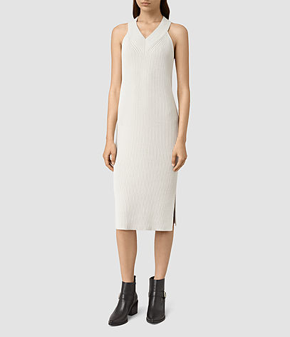 Orro Dress - style: shift; length: below the knee; neckline: v-neck; pattern: plain; sleeve style: sleeveless; predominant colour: stone; occasions: casual, creative work; fit: body skimming; fibres: cotton - stretch; sleeve length: sleeveless; texture group: knits/crochet; pattern type: knitted - other; season: s/s 2016; wardrobe: basic
