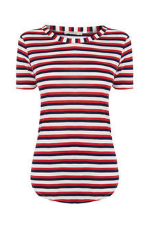Multi Stripe Perfect Tee - pattern: striped; style: t-shirt; secondary colour: white; predominant colour: true red; occasions: casual; length: standard; fibres: viscose/rayon - stretch; fit: body skimming; neckline: crew; sleeve length: short sleeve; sleeve style: standard; pattern type: fabric; texture group: jersey - stretchy/drapey; multicoloured: multicoloured; season: s/s 2016; wardrobe: highlight