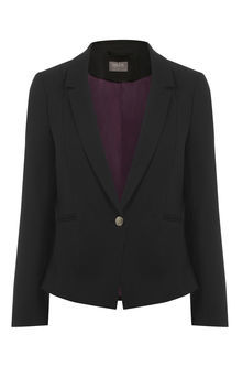 Clara Workwear Jacket - pattern: plain; style: single breasted blazer; collar: standard lapel/rever collar; predominant colour: black; occasions: work, creative work; length: standard; fit: tailored/fitted; fibres: polyester/polyamide - stretch; sleeve length: long sleeve; sleeve style: standard; collar break: low/open; pattern type: fabric; pattern size: standard; texture group: woven light midweight; season: s/s 2016; wardrobe: investment