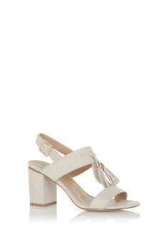 Tassel Block Heel - predominant colour: ivory/cream; occasions: evening; material: faux leather; heel height: high; heel: block; toe: open toe/peeptoe; style: standard; finish: plain; pattern: plain; season: s/s 2016; wardrobe: event