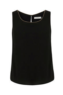 Embellished Trim Vest - neckline: round neck; pattern: plain; sleeve style: sleeveless; style: vest top; predominant colour: black; occasions: casual; length: standard; fibres: polyester/polyamide - 100%; fit: body skimming; sleeve length: sleeveless; pattern type: fabric; texture group: jersey - stretchy/drapey; season: s/s 2016; wardrobe: basic