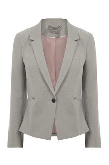Clara Workwear Jacket - pattern: plain; style: single breasted blazer; collar: standard lapel/rever collar; predominant colour: mid grey; occasions: work; length: standard; fit: tailored/fitted; fibres: polyester/polyamide - mix; sleeve length: long sleeve; sleeve style: standard; collar break: low/open; pattern type: fabric; texture group: woven light midweight; season: s/s 2016; wardrobe: investment