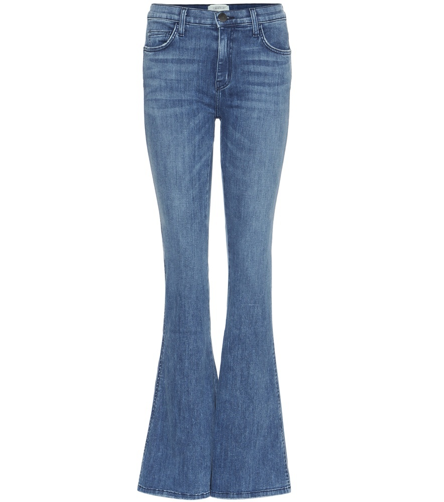 The High Rise Low Bell Jeans - style: flares; length: standard; pattern: plain; pocket detail: traditional 5 pocket; waist: mid/regular rise; predominant colour: denim; occasions: casual; fibres: cotton - stretch; jeans detail: whiskering; texture group: denim; pattern type: fabric; season: s/s 2016; wardrobe: basic