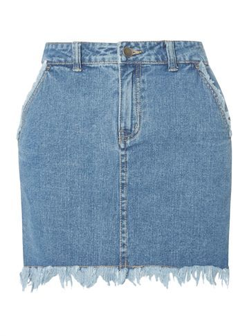Womens **First & I Frayed Hem Denim Mini Skirt Blue - length: mini; pattern: plain; fit: tailored/fitted; waist: mid/regular rise; predominant colour: denim; occasions: casual, creative work; style: mini skirt; fibres: cotton - 100%; texture group: denim; pattern type: fabric; season: s/s 2016; wardrobe: basic