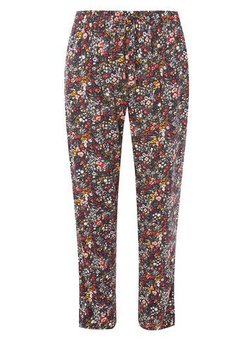 Womens Navy Ditsy Print Joggers Blue - length: standard; style: tracksuit pants; waist detail: belted waist/tie at waist/drawstring; waist: mid/regular rise; secondary colour: white; predominant colour: true red; occasions: casual; fibres: polyester/polyamide - stretch; fit: slim leg; pattern type: fabric; pattern: florals; texture group: jersey - stretchy/drapey; pattern size: standard (bottom); multicoloured: multicoloured; season: s/s 2016; wardrobe: highlight