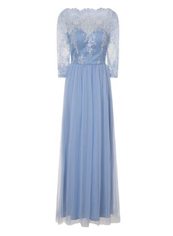 Womens **Chi Chi London Curve Long Sleeve Maxi Dress Blue - neckline: slash/boat neckline; style: maxi dress; length: ankle length; predominant colour: pale blue; fit: soft a-line; fibres: polyester/polyamide - 100%; occasions: occasion; sleeve length: 3/4 length; sleeve style: standard; texture group: lace; pattern type: fabric; pattern: patterned/print; embellishment: lace; season: s/s 2016; wardrobe: event