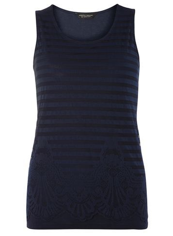 Womens Navy Mesh Lace Front Shell Top Navy - neckline: round neck; pattern: horizontal stripes; sleeve style: sleeveless; length: below the bottom; predominant colour: navy; occasions: casual; style: top; fibres: viscose/rayon - 100%; fit: body skimming; sleeve length: sleeveless; pattern type: fabric; texture group: jersey - stretchy/drapey; embellishment: lace; pattern size: big & busy (top); season: s/s 2016; wardrobe: highlight