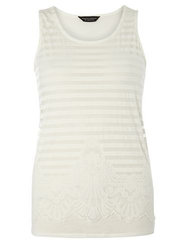 Womens Ivory Mesh Lace Front Shell Top White - neckline: round neck; pattern: horizontal stripes; sleeve style: sleeveless; length: below the bottom; style: vest top; predominant colour: ivory/cream; occasions: casual; fibres: viscose/rayon - 100%; fit: body skimming; sleeve length: sleeveless; pattern type: fabric; pattern size: light/subtle; texture group: jersey - stretchy/drapey; season: s/s 2016; wardrobe: basic