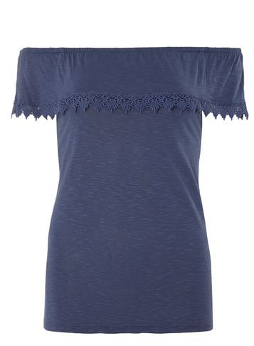 Womens Blue Lace Trim Blouse Blue - neckline: off the shoulder; pattern: plain; predominant colour: navy; occasions: casual, evening; length: standard; style: top; fibres: viscose/rayon - 100%; fit: body skimming; sleeve length: short sleeve; sleeve style: standard; pattern type: fabric; texture group: jersey - stretchy/drapey; season: s/s 2016