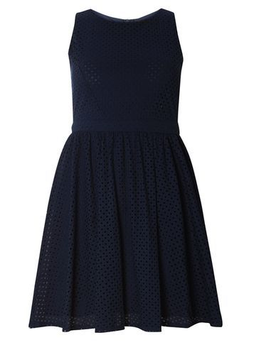 Womens **Mela Navy Lace Skater Dress Blue - neckline: round neck; pattern: plain; sleeve style: sleeveless; predominant colour: navy; occasions: evening; length: just above the knee; fit: fitted at waist & bust; style: fit & flare; fibres: polyester/polyamide - stretch; sleeve length: sleeveless; pattern type: fabric; texture group: jersey - stretchy/drapey; season: s/s 2016; wardrobe: event