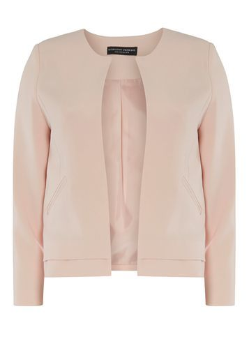 Womens Nude Collarless Boxy Jacket White - pattern: plain; style: single breasted blazer; collar: round collar/collarless; predominant colour: blush; occasions: evening, work, creative work; length: standard; fit: straight cut (boxy); fibres: polyester/polyamide - stretch; sleeve length: long sleeve; sleeve style: standard; collar break: low/open; pattern type: fabric; pattern size: standard; texture group: woven light midweight; season: s/s 2016; wardrobe: investment