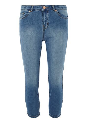 Womens Petite Cropped Kick Flare Jeans Blue - style: skinny leg; pattern: plain; pocket detail: traditional 5 pocket; waist: mid/regular rise; predominant colour: denim; occasions: casual, creative work; length: calf length; fibres: cotton - stretch; texture group: denim; pattern type: fabric; season: s/s 2016; wardrobe: basic