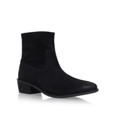 Laya - predominant colour: black; occasions: casual, creative work; material: leather; heel height: flat; heel: standard; toe: round toe; boot length: ankle boot; style: standard; finish: plain; pattern: plain; season: s/s 2016; wardrobe: basic