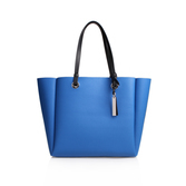 Nina Tote - predominant colour: royal blue; secondary colour: black; occasions: casual, creative work; type of pattern: standard; style: tote; length: handle; size: standard; material: leather; finish: plain; pattern: colourblock; season: s/s 2016; wardrobe: highlight