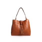 Taro Hobo - predominant colour: tan; occasions: casual, creative work; type of pattern: standard; style: tote; length: handle; size: standard; material: leather; embellishment: tassels; pattern: plain; finish: plain; season: s/s 2016; wardrobe: highlight