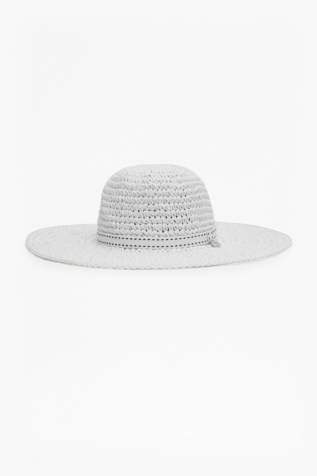 Tina Ribbon Trim Foldaway Hat Natural / Black Trim - predominant colour: white; type of pattern: standard; style: wide brimmed; size: standard; material: macrame/raffia/straw; pattern: plain; occasions: holiday; season: s/s 2016; wardrobe: holiday