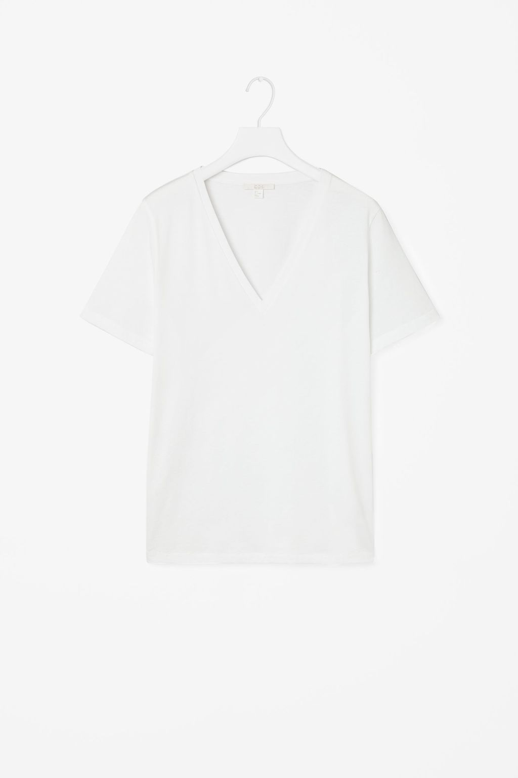 V Neck Cotton T Shirt - neckline: v-neck; pattern: plain; style: t-shirt; predominant colour: white; occasions: casual; length: standard; fibres: cotton - 100%; fit: body skimming; sleeve length: short sleeve; sleeve style: standard; pattern type: fabric; texture group: jersey - stretchy/drapey; season: s/s 2016; wardrobe: basic