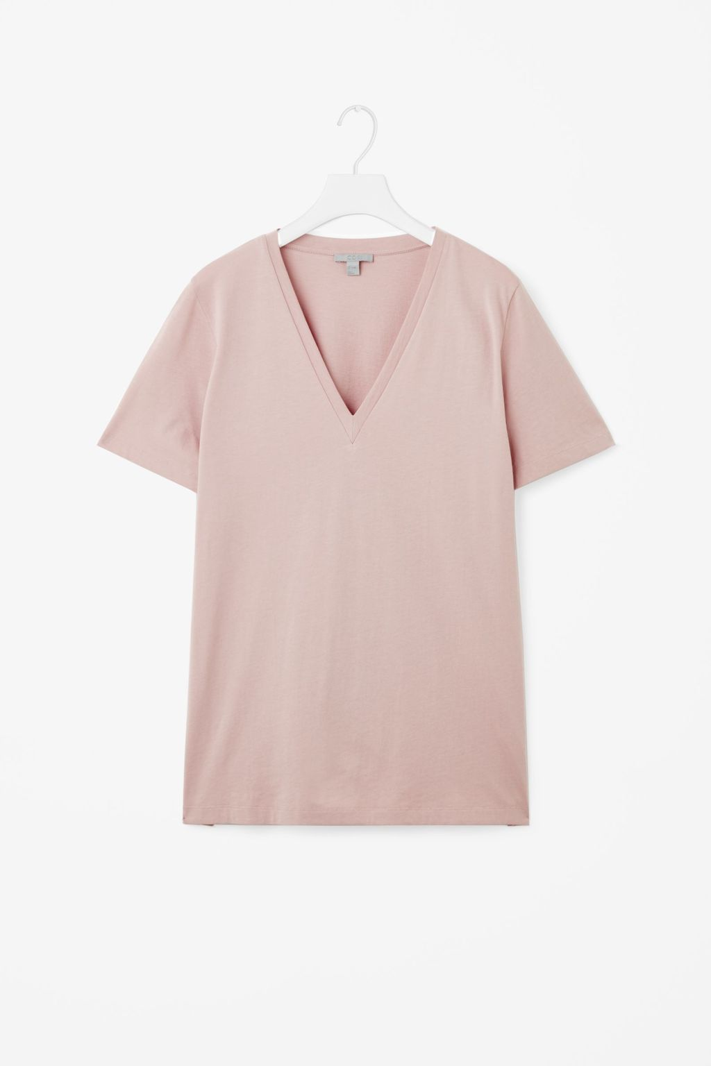 V Neck Cotton T Shirt - neckline: v-neck; pattern: plain; style: t-shirt; predominant colour: blush; occasions: casual; length: standard; fibres: cotton - 100%; fit: body skimming; sleeve length: short sleeve; sleeve style: standard; pattern type: fabric; texture group: jersey - stretchy/drapey; season: s/s 2016; wardrobe: basic