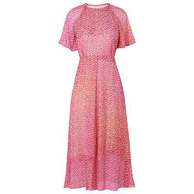 Silk Madison Dress, Multi - style: shift; length: below the knee; predominant colour: pink; secondary colour: blush; fit: body skimming; fibres: silk - 100%; occasions: occasion; neckline: crew; sleeve length: short sleeve; sleeve style: standard; texture group: silky - light; pattern type: fabric; pattern size: light/subtle; pattern: patterned/print; season: s/s 2016; wardrobe: event