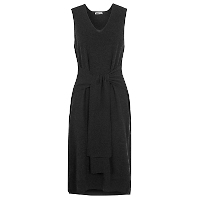 Tie Front Knit Dress, Dark Grey - style: shift; length: below the knee; neckline: v-neck; pattern: plain; sleeve style: sleeveless; predominant colour: charcoal; occasions: casual, creative work; fit: body skimming; fibres: cotton - mix; sleeve length: sleeveless; pattern type: fabric; texture group: jersey - stretchy/drapey; season: s/s 2016; wardrobe: basic