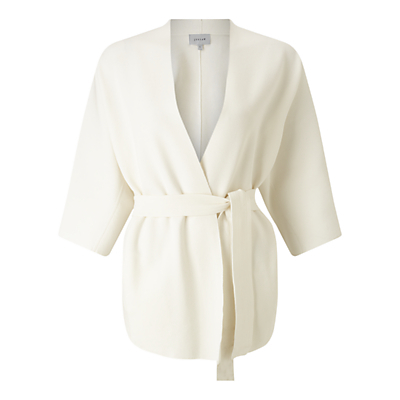 Belted Knit Jacket, Ivory - sleeve style: dolman/batwing; pattern: plain; style: belted jacket; collar: round collar/collarless; length: below the bottom; fit: slim fit; predominant colour: ivory/cream; occasions: occasion, creative work; waist detail: belted waist/tie at waist/drawstring; sleeve length: 3/4 length; texture group: knits/crochet; collar break: medium; pattern type: knitted - fine stitch; fibres: viscose/rayon - mix; season: s/s 2016