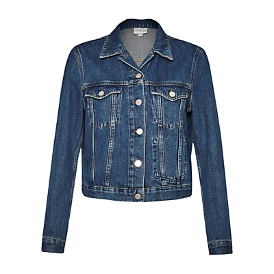 Micro Western Denim Jacket, Tinted Vintage - pattern: plain; style: denim; fit: slim fit; predominant colour: navy; occasions: casual, creative work; length: standard; fibres: cotton - 100%; collar: shirt collar/peter pan/zip with opening; sleeve length: long sleeve; sleeve style: standard; texture group: denim; collar break: high/illusion of break when open; pattern type: fabric; season: s/s 2016; wardrobe: basic