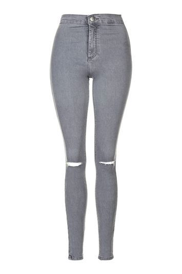 Moto Grey Rip Joni Jeans - style: skinny leg; length: standard; pattern: plain; waist: high rise; pocket detail: traditional 5 pocket; predominant colour: mid grey; occasions: casual; fibres: cotton - stretch; texture group: denim; pattern type: fabric; jeans detail: rips; season: s/s 2016; wardrobe: highlight