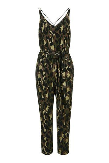 Tall Camo Print Jumpsuit - length: standard; neckline: v-neck; sleeve style: sleeveless; predominant colour: khaki; secondary colour: black; occasions: casual; fit: body skimming; fibres: viscose/rayon - 100%; sleeve length: sleeveless; style: jumpsuit; pattern type: fabric; texture group: jersey - stretchy/drapey; pattern: camouflage; multicoloured: multicoloured; season: s/s 2016; wardrobe: highlight
