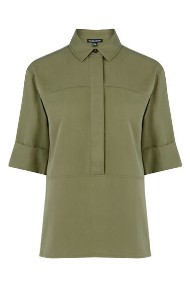Seam Detail Shirt - neckline: shirt collar/peter pan/zip with opening; pattern: plain; length: below the bottom; style: shirt; bust detail: buttons at bust (in middle at breastbone)/zip detail at bust; predominant colour: khaki; occasions: casual, work, creative work; fibres: viscose/rayon - 100%; fit: loose; sleeve length: half sleeve; sleeve style: standard; pattern type: fabric; texture group: jersey - stretchy/drapey; season: s/s 2016