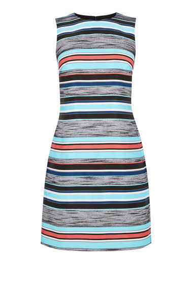 Jacquard Stripe Shift Dress - style: shift; fit: tailored/fitted; pattern: horizontal stripes; sleeve style: sleeveless; hip detail: draws attention to hips; secondary colour: pale blue; predominant colour: light grey; occasions: evening; length: just above the knee; fibres: polyester/polyamide - mix; neckline: crew; sleeve length: sleeveless; pattern type: fabric; texture group: other - light to midweight; multicoloured: multicoloured; season: s/s 2016; wardrobe: event