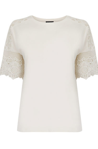 Cotton Lace Sleeve Tee - pattern: plain; style: t-shirt; predominant colour: ivory/cream; occasions: casual, creative work; length: standard; fibres: cotton - 100%; fit: body skimming; neckline: crew; shoulder detail: added shoulder detail; sleeve length: short sleeve; sleeve style: standard; pattern type: fabric; pattern size: standard; texture group: jersey - stretchy/drapey; embellishment: lace; season: s/s 2016; wardrobe: highlight