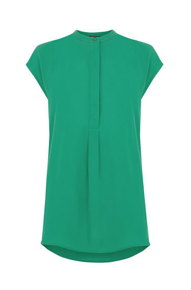 Sleeveless Pleat Back Blouse - sleeve style: capped; pattern: plain; length: below the bottom; style: blouse; predominant colour: emerald green; occasions: casual, work, creative work; neckline: collarstand; fibres: viscose/rayon - 100%; fit: body skimming; back detail: longer hem at back than at front; sleeve length: short sleeve; pattern type: fabric; texture group: other - light to midweight; season: s/s 2016; wardrobe: highlight; embellishment location: bust