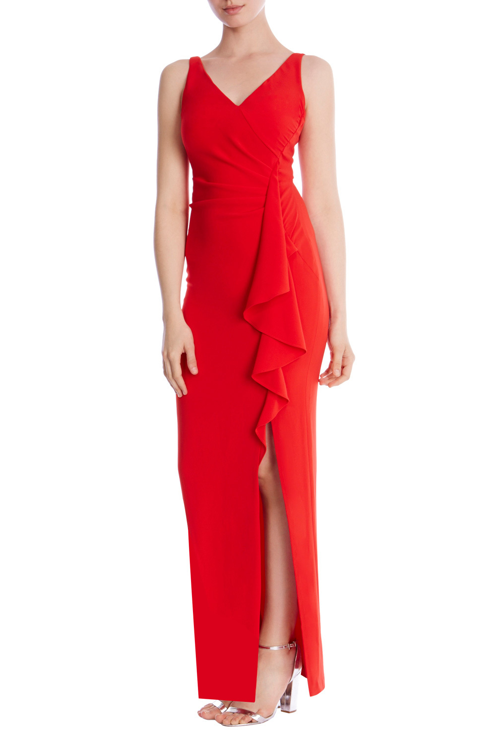 Finary Frill Maxi Dress Sb - neckline: v-neck; pattern: plain; sleeve style: sleeveless; style: maxi dress; predominant colour: true red; occasions: evening; length: floor length; fit: body skimming; hip detail: slits at hip; sleeve length: sleeveless; pattern type: fabric; texture group: jersey - stretchy/drapey; fibres: viscose/rayon - mix; season: s/s 2016