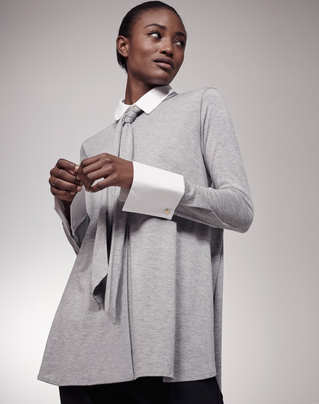 Swing Jersey Shirt Grey/White - length: below the bottom; style: shirt; neckline: pussy bow; secondary colour: white; predominant colour: mid grey; occasions: casual, creative work; fibres: polyester/polyamide - stretch; fit: loose; sleeve length: long sleeve; sleeve style: standard; pattern type: fabric; pattern size: standard; pattern: colourblock; texture group: jersey - stretchy/drapey; season: s/s 2016; wardrobe: highlight
