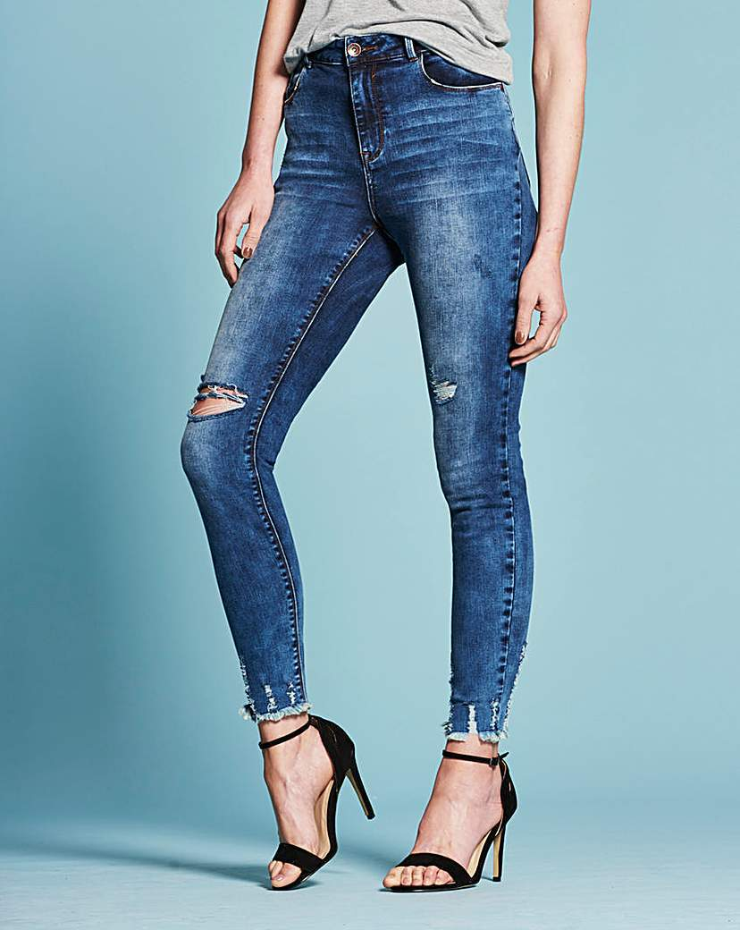 Chloe Distressed Hem Skinny Jeans Reg - style: skinny leg; length: standard; pattern: plain; pocket detail: traditional 5 pocket; waist: mid/regular rise; predominant colour: denim; occasions: casual; fibres: cotton - stretch; jeans detail: washed/faded, rips; texture group: denim; pattern type: fabric; season: s/s 2016; wardrobe: basic