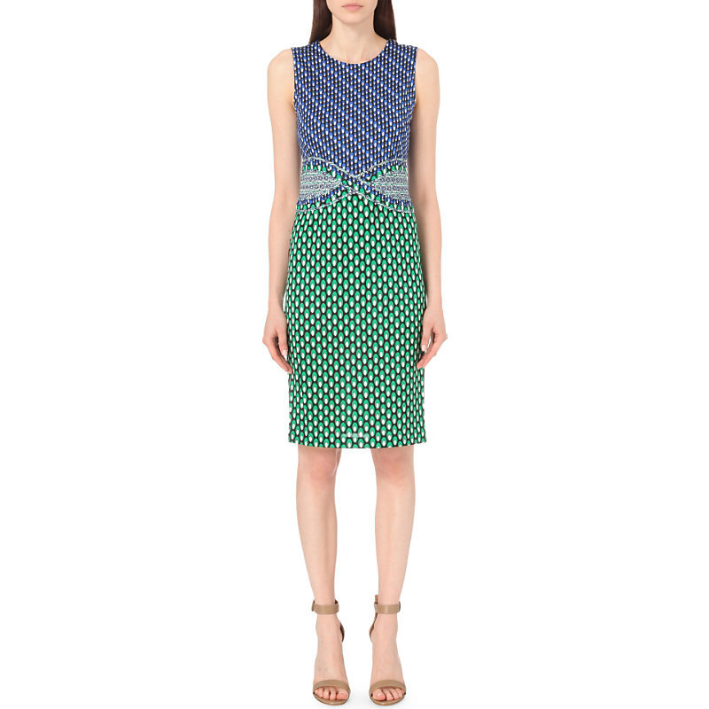 Evita Silk Jersey Dress, Women's, Dots Green/Diagonal - style: shift; fit: tailored/fitted; sleeve style: sleeveless; predominant colour: emerald green; length: on the knee; fibres: cotton - 100%; occasions: occasion, creative work; neckline: crew; sleeve length: sleeveless; texture group: cotton feel fabrics; pattern type: fabric; pattern: patterned/print; season: s/s 2016; wardrobe: highlight