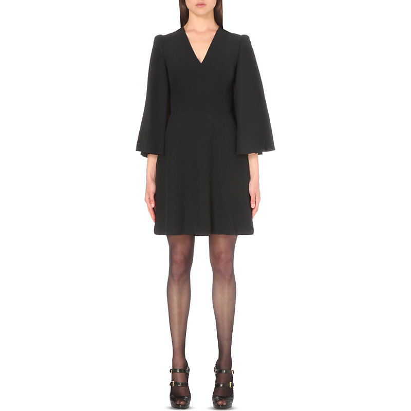 Cape Detail Crepe Mini Dress, Women's, Black - style: shift; neckline: v-neck; pattern: plain; predominant colour: black; occasions: evening; length: just above the knee; fit: body skimming; sleeve length: 3/4 length; sleeve style: standard; texture group: crepes; pattern type: fabric; fibres: viscose/rayon - mix; season: s/s 2016; wardrobe: event