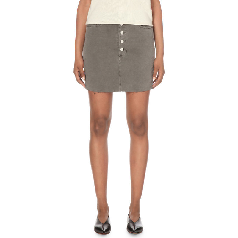 Rosalie Stretch Denim Skirt, Women's, Distressed Silver Fox - length: mini; pattern: plain; fit: tight; waist: mid/regular rise; predominant colour: mid grey; occasions: casual, creative work; style: mini skirt; fibres: cotton - stretch; texture group: denim; pattern type: fabric; season: s/s 2016; wardrobe: basic