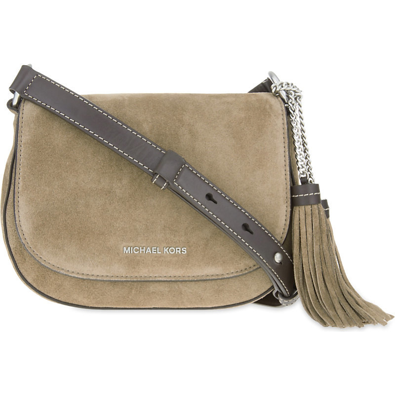 Elyse Medium Suede Saddle Bag, Women's, Light Brown - predominant colour: taupe; secondary colour: taupe; occasions: casual, creative work; type of pattern: standard; style: saddle; length: across body/long; size: standard; material: suede; embellishment: tassels; pattern: plain; finish: plain; season: s/s 2016; wardrobe: basic