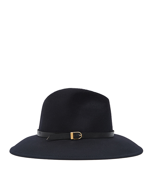 Patty Felt Fedora - predominant colour: navy; occasions: casual; type of pattern: standard; style: fedora; size: standard; material: fabric; pattern: plain; embellishment: buckles; season: s/s 2016; wardrobe: highlight