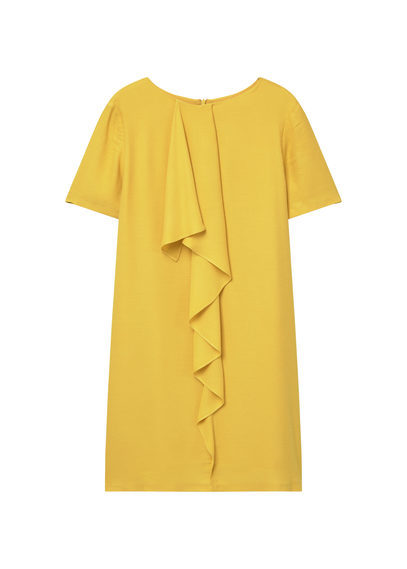 Off Shoulder Dress - style: shift; length: mid thigh; neckline: round neck; pattern: plain; predominant colour: yellow; fit: straight cut; fibres: polyester/polyamide - 100%; occasions: occasion, creative work; sleeve length: short sleeve; sleeve style: standard; texture group: crepes; pattern type: fabric; season: s/s 2016; wardrobe: highlight