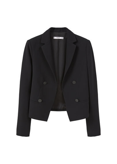 Double Breasted Jacket - pattern: plain; style: double breasted blazer; collar: standard lapel/rever collar; predominant colour: black; occasions: work, occasion; length: standard; fit: tailored/fitted; fibres: polyester/polyamide - 100%; sleeve length: long sleeve; sleeve style: standard; collar break: medium; pattern type: fabric; texture group: woven light midweight; season: s/s 2016; wardrobe: investment