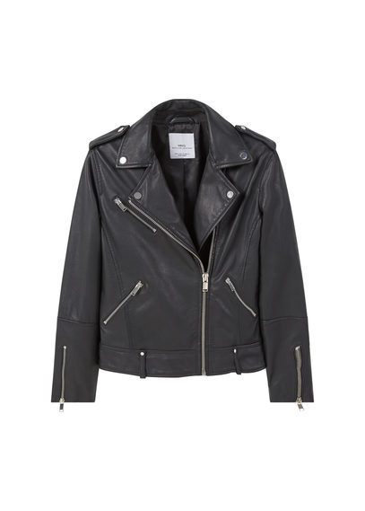 Leather Biker Jacket - pattern: plain; style: biker; collar: asymmetric biker; predominant colour: black; occasions: casual, evening, creative work; length: standard; fit: tailored/fitted; fibres: leather - 100%; shoulder detail: discreet epaulette; sleeve length: long sleeve; sleeve style: standard; texture group: leather; collar break: high/illusion of break when open; pattern type: fabric; season: s/s 2016; wardrobe: basic