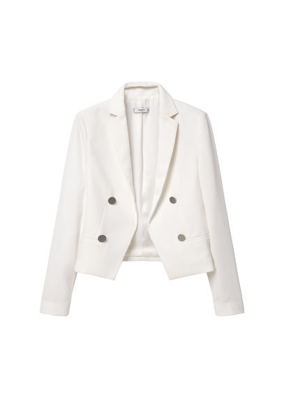 Double Breasted Jacket - pattern: plain; style: double breasted blazer; collar: standard lapel/rever collar; predominant colour: white; length: standard; fit: tailored/fitted; fibres: polyester/polyamide - 100%; occasions: occasion; sleeve length: long sleeve; sleeve style: standard; collar break: medium; pattern type: fabric; texture group: woven light midweight; season: s/s 2016; wardrobe: event