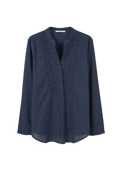 Embroidered Cotton Blouse - pattern: plain; style: blouse; predominant colour: navy; occasions: work, creative work; length: standard; neckline: collarstand & mandarin with v-neck; fibres: cotton - 100%; fit: loose; sleeve length: long sleeve; sleeve style: standard; texture group: sheer fabrics/chiffon/organza etc.; pattern type: fabric; embellishment: embroidered; season: s/s 2016; wardrobe: highlight