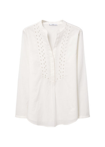 Embroidered Cotton Blouse - pattern: plain; style: blouse; predominant colour: white; occasions: casual, creative work; length: standard; neckline: collarstand & mandarin with v-neck; fibres: cotton - 100%; fit: straight cut; sleeve length: long sleeve; sleeve style: standard; texture group: cotton feel fabrics; pattern type: fabric; embellishment: embroidered; season: s/s 2016; wardrobe: highlight